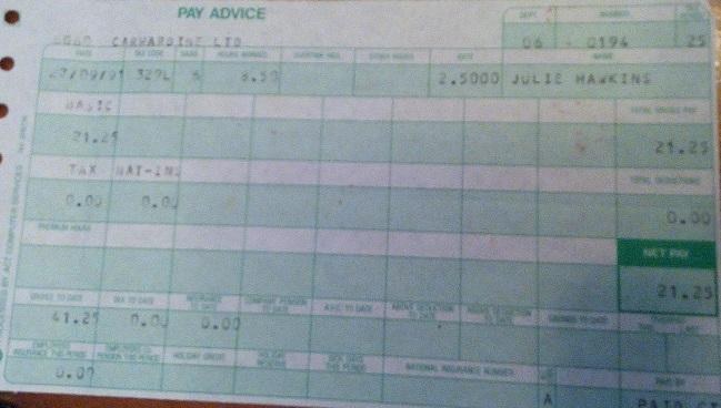 Pay Slip 1991